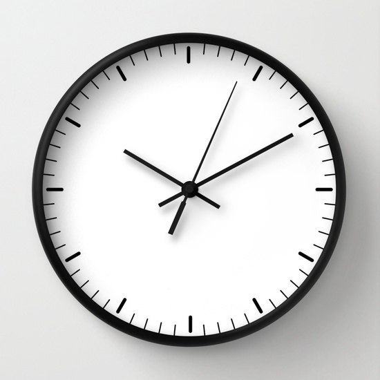 White Wall Clock Classic Design Black White Minimalist Decor