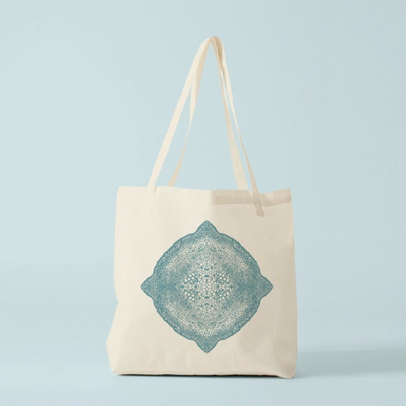 Tote bag Blue Mandala, Cotton bag, canvas bag, spiritual, inspirational quote, groceries bag, school bag, novelty gift, gift for coworker.