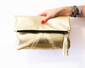 Gold Leather Clutch, Metallic Fold Over Clutch, Stylish Party Purse, Gold Bridal Clutch, Gold Wedding Clutch, Gold Handbag