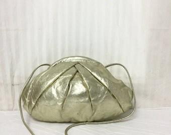 Gold leather purse, bag,bags ,purses, 1980s, Shoulder Bag, Park Ave USA