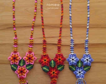 Huichol Beaded Chaquira Necklaces -  3 Flowers - Romea Accessories - Jewelry - Huichol Art - Handmade
