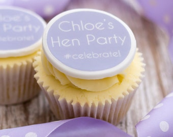 Hen Party Cupcake Toppers - personalised edible sugar cupcake decorations (pack of 12)