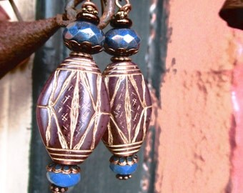 Handmade Earrings with Vintage Brown and Gold Carved Art Deco Style Beads