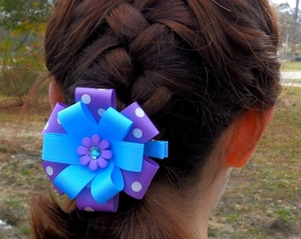 Purple Flower Hair Clip ~ Flower Hair Bow ~ Flower Clippie Bow ~ Flower Baby Bow ~ Small Flower Bow ~ Purple & Blue Hair Clip ~ Blue Flower