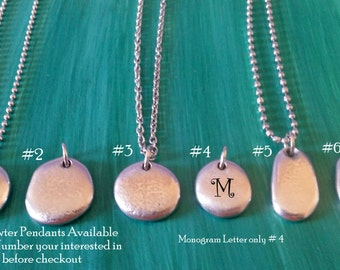 Hand Cast Pewter Pendant Necklace | Custom Stamped Name or Phrase | Pewter Pebble Necklace