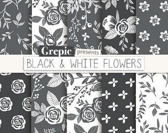 "Floral digital paper: ""BLACK & WHITE FLOWERS"" vintage flowers, hand drawn, patterns, floral background, grey, flower pattern, grayscale"