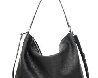 NELA - Leather Hobo Bag (LARGE) - Black