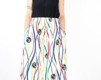 Vintage 80s Nautical High Waist Maxi Skirt | Cute Rope and Anchor Design | Size Large | Boho Festival Summer Skirt