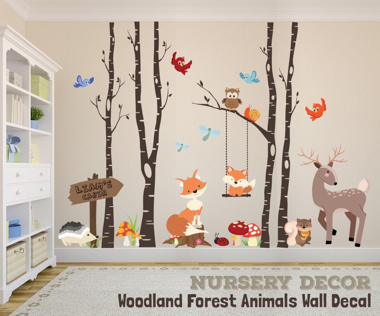 woodland nursery decor wall decal trees fox nursery trees. Black Bedroom Furniture Sets. Home Design Ideas