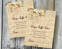 Diaper Raffle Ticket, Rustic Printable Diaper Raffle Card, Burlap Diaper Raffle Insert, Bird Cage Baby Shower, Instant Digital Download