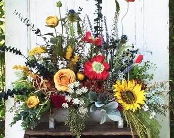 Large Floral Arrangement, Mantel Arrangement, Silk Flower Arrangement, Farmhouse Decor, Colorful, Foyer Decor, Table Arrangement, Handmade