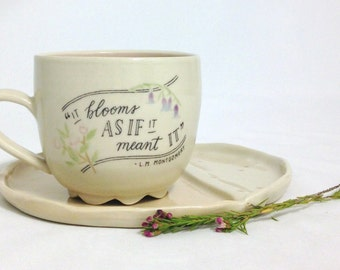 Anne of Green Gables Quote Mug   Wheel thrown   Ceramic   Pottery   Pink   It blooms   READY TO SHIP