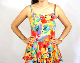 Vintage Floral Dress Summer Frills Furbellows Colorful Flower Women M