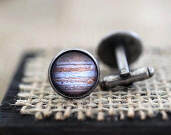 Jupiter Cufflinks, Jupiter Cuff Links, Space Cufflinks, Science Cufflinks, Planet Cufflinks, Space Jewelry, Space Wedding, Science Wedding