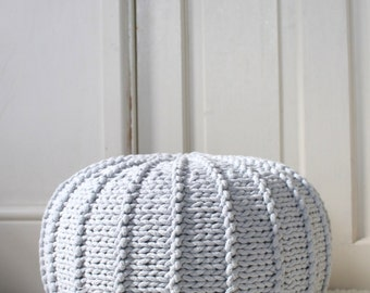 Light grey floor pouf ottoman knitted pouf knit pouf nursery decor, knitted ottoman footstool nursery pouffe baby pouffe ZURI