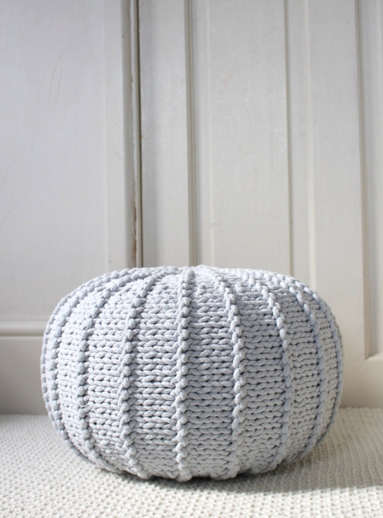 Light grey floor pouf ottoman knitted pouf knit pouf nursery - Knitted pouf ottoman pattern ...