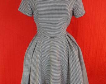 dogtooth check full skirt black collar tea day dress