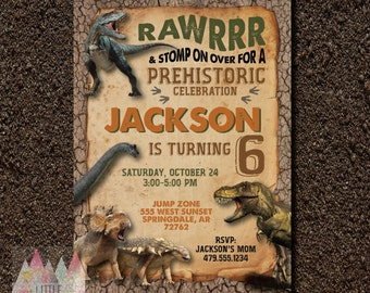 Dinosaur Birthday Invitation. Dinosaur Invitation. Dinosaur Birthday Party. Dinosaur Party.