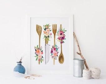 Floral Kitchen Utensil Print » 4x6 5x7 8x10 11x14 » Kitchen Wall Art » Wooden Utensil Print » Kitchen Poster » Kitchen Decor » Digital Print