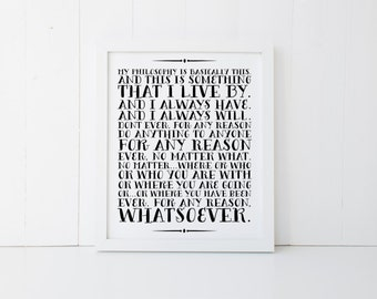 Philosophy Print » The Office Print » The Office TV Show » TV Quote Print » Quote Print » Michael Scott Print » Office Decor » Digital Print