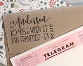 Custom address stamp, Cute Return Address Stamp with a fancy font for weddings, housewarming parties and as a customized gift for holidays
