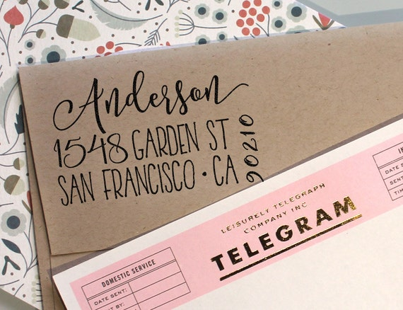 Custom address stamp cute return address stamp with a fancy - Return gifts for housewarming party ...