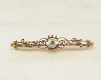 Rose Gold Victorian/Art Nouveau Crystal Brooch 12k