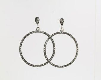 Marcasite Hoop Sterling Silver Earrings