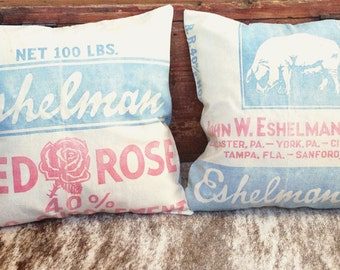 Rustic Pillow Cover Set 17 x 17 Feedsack Pillows Vintage Pillow Covers Pillow Cover Set Red and Blue Pillows Southern Home Decor Feedsack