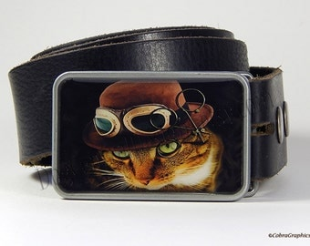 Cat Belt Buckle Steampunk Orange Tabby Cat Belt Buckle wearing Hat and Goggles Choice of Buckle Finish