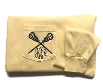 Long Sleeve Monogrammed Lacrosse Comfort Colors Pocket Tee