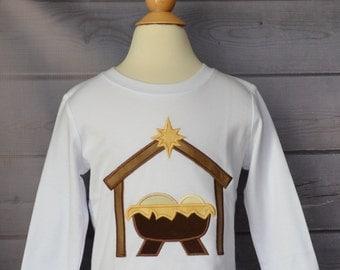 Nativity baby JESUS in a Manger Applique Shirt or Onesie Boy or Girl