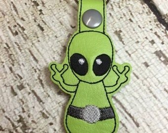 Alien - Snap/Rivet Key Fob - DIGITAL Embroidery Design