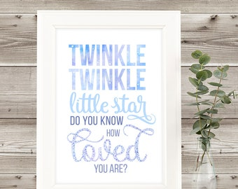 Quotes for Kids - Baby Room Decor - Printable Quotes - Twinkle Twinkle Little Star -  Wall Art Decor - Short Happy Quotes - Modern Wall Art