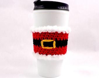 Santa / Christmas / Coffee cup sleeve / coffee mug cozy / travel cup sleeve / cup cozy / travel mug cozy / travel mug sleeve / cozy