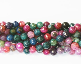 Agate Beads, Round Agate Beads, 1 strand, 8 mm Dark Multi color agate beads, Bright Agate Beads, Faceted Agate Beads, Wholesale Beads