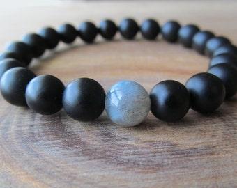 Labradorite and Matte Black Onyx Bracelet, Stacking Bracelet, Men's Bracelet, Mala Bracelet, Layering Bracelet, Beaded Labradorite Bracelet