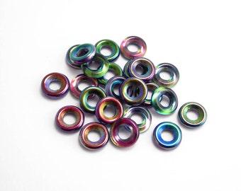 9mm Crystal Magic Blue Glass Ring Czech Glass Beads, (10pcs) Magic Blue Glass Ring Beads, Magic Blue Beads, Rainbow Beads GLR0016