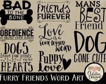 Animal Word Art Clip Art for Digital Scrapbooking & Card Making - Furry Friends Dog Typography Overlays Wordart