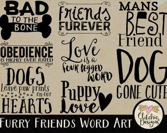 Dog Word Art Clipart for Digital Scrapbooking & Card Making - Furry Friends Dog Typography Overlays Wordart. Pet Word Art Clip Art,