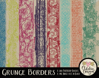 Decorative Grunge Photoshop Clipart Brushes - Digital Scrapbook Brushes - abr photoshop brushes, Grunge Borders Clip Art