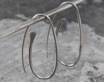 Silver Oval Earrings, Paperclip Earrings, Drop Earrings, Sterling Silver, Dangly Earrings, Silver Drops, Curved Earrings, Elegant Jewelry
