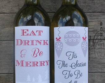 Christmas Printable Wine Bottle Labels