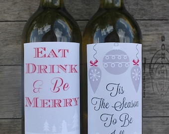Christmas Printable Wine Bottle Labels