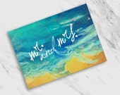 Mr. and Mrs. Beachy Ocean + Sand Watercolor Texture / Wedding / Thank You Cards