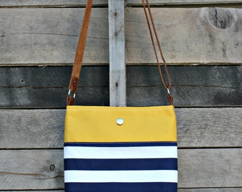 Crossbody Bag, Mustard, Navy and White Stripe, Genuine Leather, Everyday Purse, Adjustable Strap