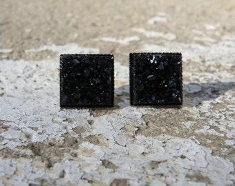 Earrings Square Druzy Stud Earrings Boho Jewelry Black 12MM
