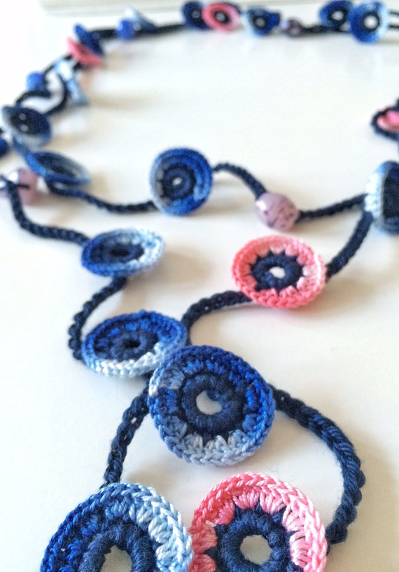 mixed blue and pink turkish style beaded crochet necklace
