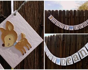 Woodland Baby Shower / Woodland Room Decor / Nursery Decor / Deerhead Name Sign / Deerhead Personalized Name / Woodland Birthday / Baby Deer
