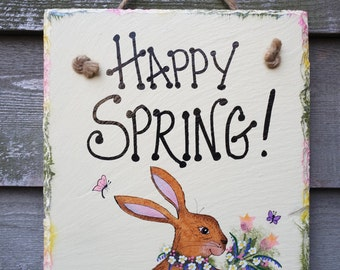 Bunny Rabbit Cottontail hand painted Happy Spring with Flowers Wall-hanging Slate